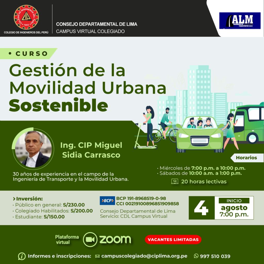 Curso: Gestión de la Movilidad Urbana Sostenible